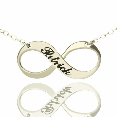 Solid Gold Engraved Name Infinity Necklace