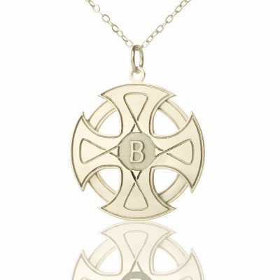 Solid Gold Engraved Celtic Cross Name Necklace