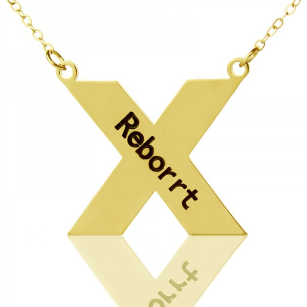 Personalised 18CT Gold St. Andrew Name Cross Necklace