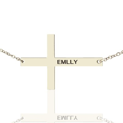 Solid Gold Latin Cross Name Necklace Engraved Name