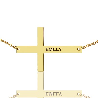 Gold Latin Cross Necklace Engraved Name 1.6""