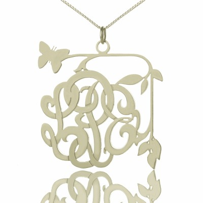 Solid White Gold Custom Butterfly Script Monogram Necklace