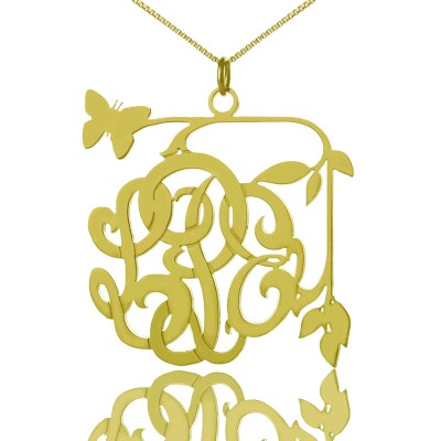 Vines Butterfly Monogram Initial Necklace - 18CT Gold
