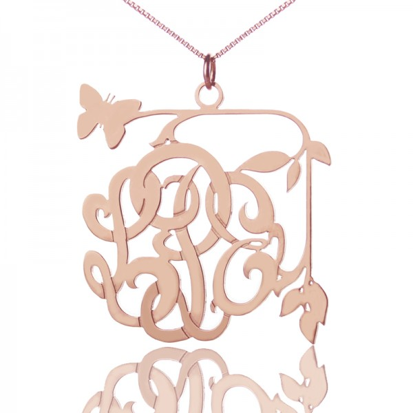 Butterfly and Vines Monogrammed Necklace 18CT Rose Gold Plated