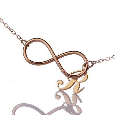Rose Gold Infinity Initial Necklace