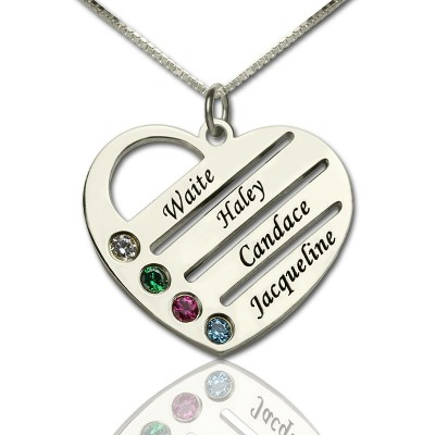 Solid Gold Mothers Heart Necklace Gift with Birthstone Name