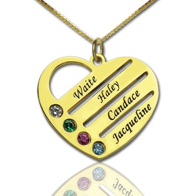 18CT Gold Mothers Birthstone Heart Necklace Engraved Names