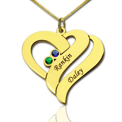 Two Hearts Forever One Love Necklace - 18CT Gold