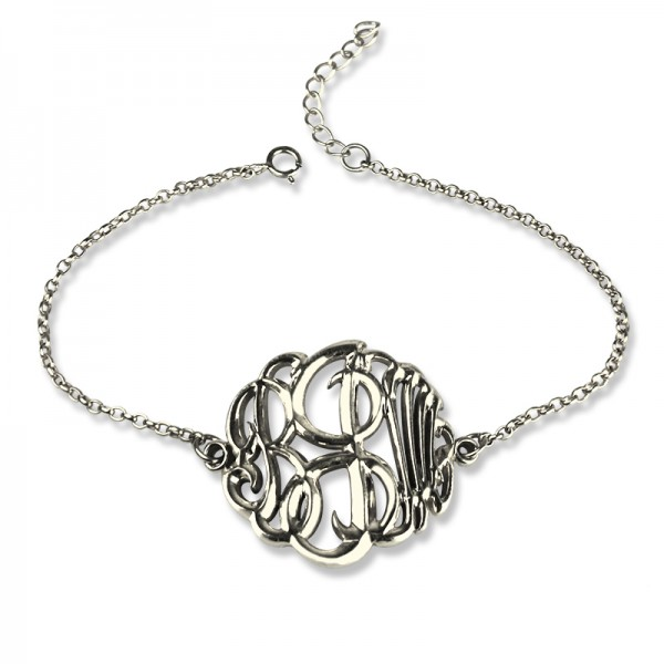 18CT White Gold Monogram Bracelet Hand-painted