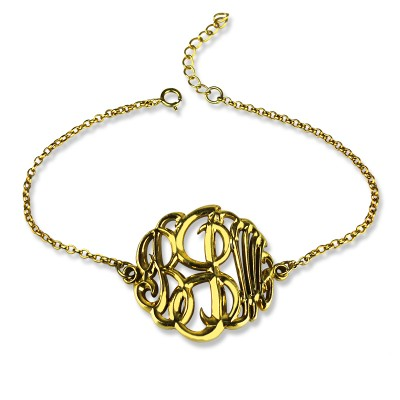 Personalised Monogrammed Bracelet Hand-painted - 18CT Gold