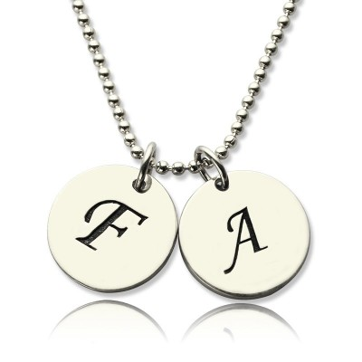 Solid Gold Initial Discs Name Necklace