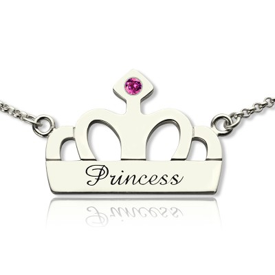 Solid White Gold Crown Charm Neckalce with Birthstone Name