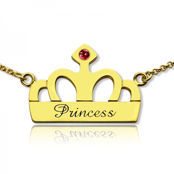 Princess Crown Charm Necklace with Birthstone Name - 18CT Gold