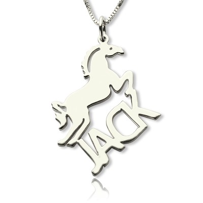 Solid Gold Horse Name Necklace for Kids