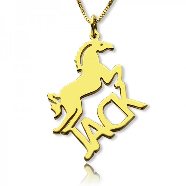 Kids Name Necklace with Horse - 18CT Gold