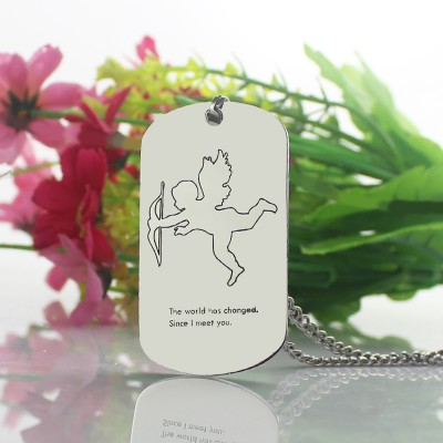 Solid White Gold Cupid Man's Dog Tag Name Necklace