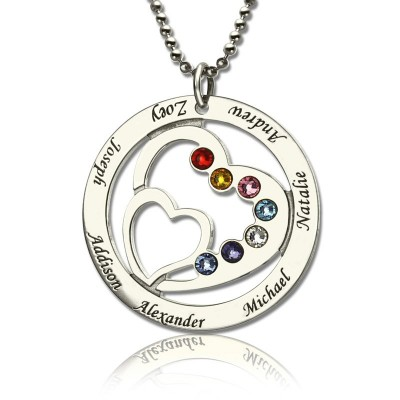 Solid Gold Heart in Heart Birthstone Name Necklace