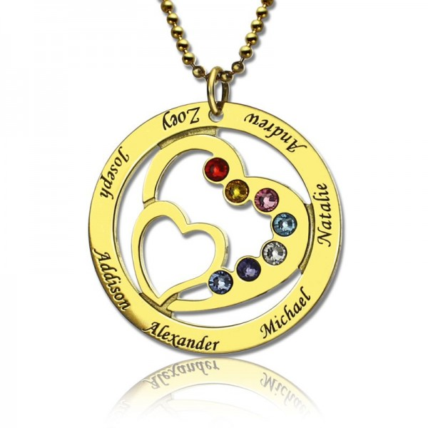 Heart in Heart Birthstone Name Necklace - 18CT Gold