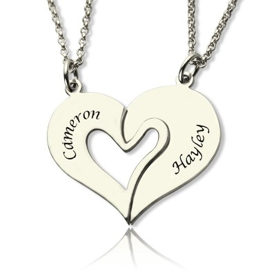 Solid White Gold Breakable Heart Name Necklace for Couples