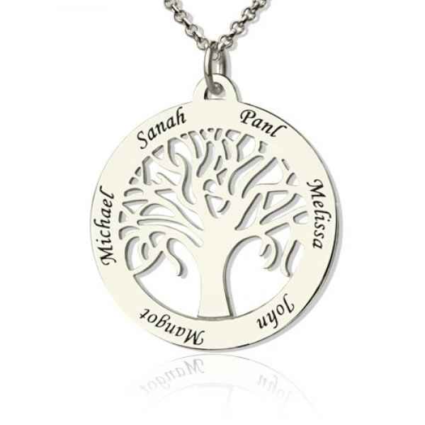 White Gold Tree Of Life Necklace Engraved Names