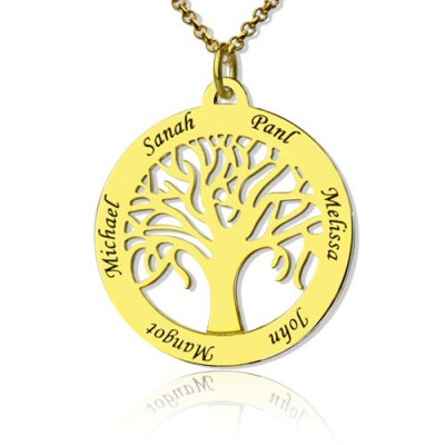 Tree of Life Jewellery Family Name Necklace - 18CT Gold