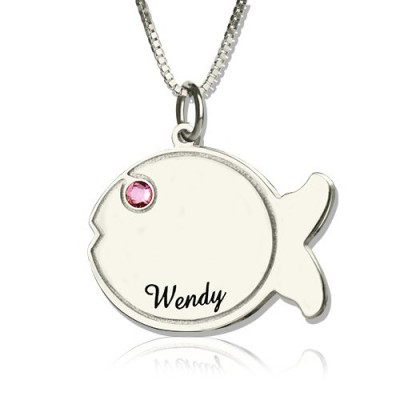 Solid Gold Fish Necklace Engraved Name