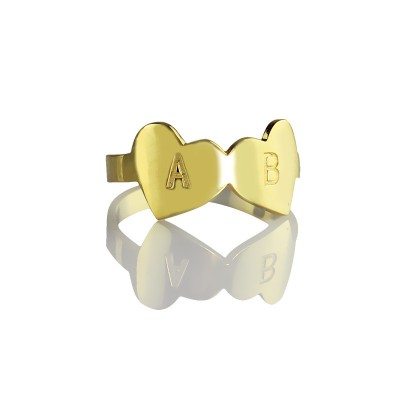 Custom Double Heart Ring Engraved Letter - 18CT Gold