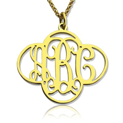 Personalised Cut Out Clover Monogram Necklace - 18CT Gold