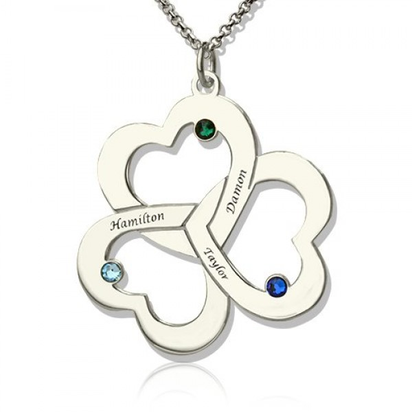 Solid Gold Three Triple Heart Shamrocks Necklace with Name