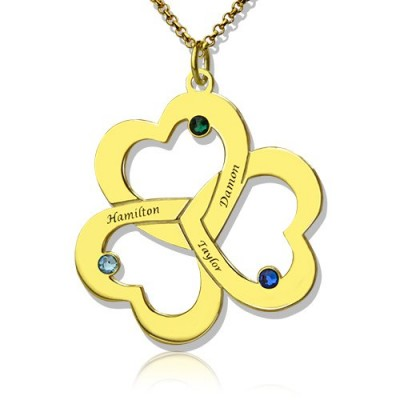 Birthstone Triple Heart Necklace Engraved Name - 18CT Gold