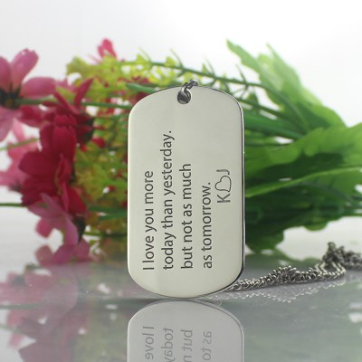 Solid Gold Love Song Dog Tag Name Necklace