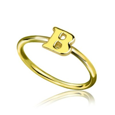 Custom Midi Initial Letter Ring - 18CT Gold