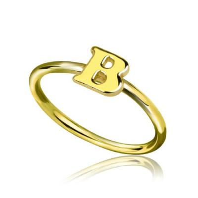 Custom Midi Initial Letter Ring - 18CT Gold