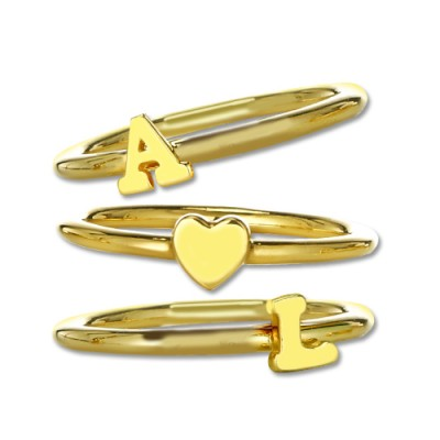 Stackable Initial Ring - 18CT Gold