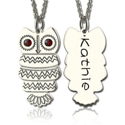 Solid Gold Cute Birthstone Owl Name Necklace for Girls