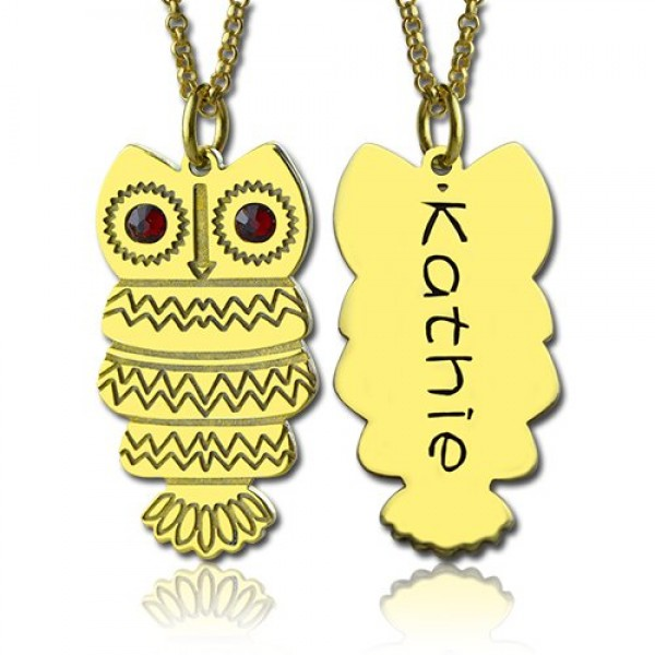 Cute Birthstone Owl Name Necklace - 18CT Gold