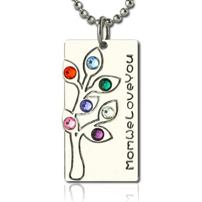 Solid White Gold Birthstone Mother Family Tree Necklace Gifts
