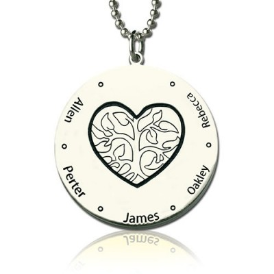 Solid Gold Family Tree Jewellery Necklace Engraved Names