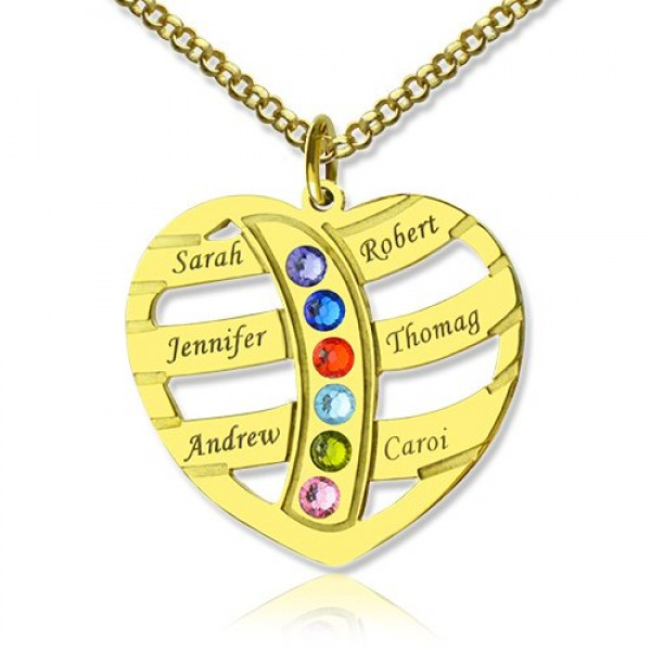 Mothers Necklace With Children Names Birthstones - 18CT Gold