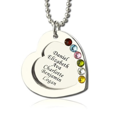 Solid Gold Heart Family Necklace With Birthstone