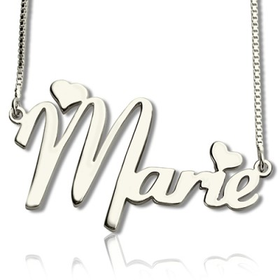 Solid White Gold Cute Name Necklace
