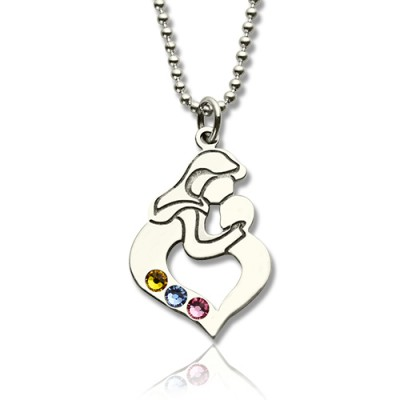 Solid Gold Mother Child Name Necklace with Birthstone