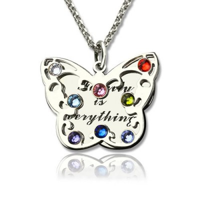 Solid Gold Birthstone Butterfly Necklace