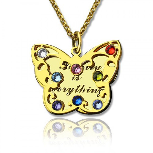 Birthstone Butterfly Necklace - 18CT Gold