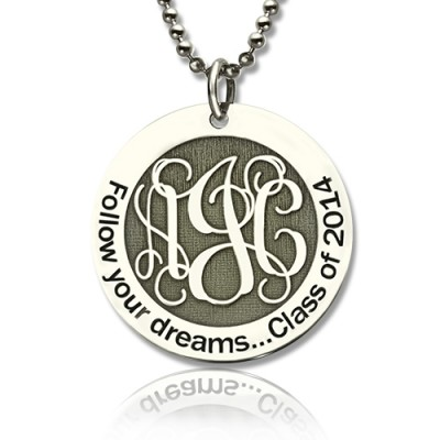 Solid White Gold Class Graduation Monogram Necklace