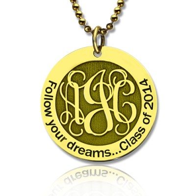 Follow Your Dreams Disc Monogram Necklace - 18CT Gold