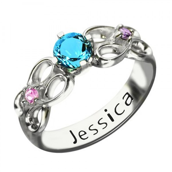 Customised Infinity Promise Solid White Gold Ring With Name Birthstone for Her