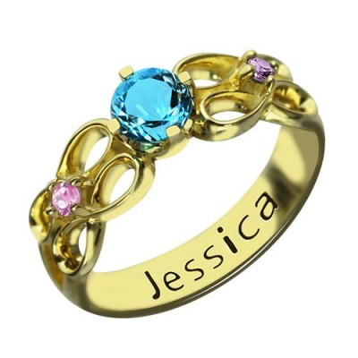 Birthstone Infinity Promise Ring With Name - 18CT Gold