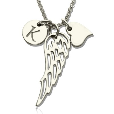Solid Gold Girls Angel Wing Necklace Gifts With Heart Initial Charm