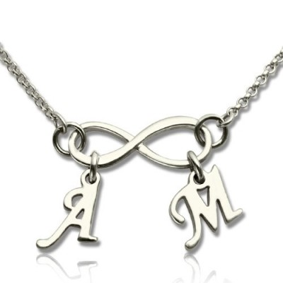 Solid Gold Infinity Necklace Double Initials